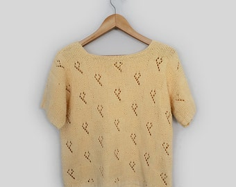 Sweater Vintage Yellow Sweater Short Sleeve Small Medium Knit Crop Sweater Jersey Hippie Gypsy Gift for her Holiday Festival