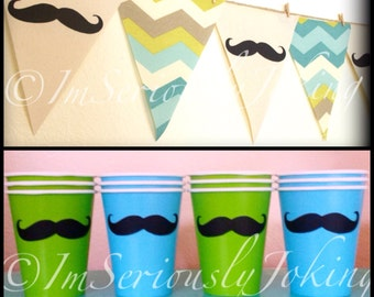 Blue Chevron print Mustache Banner and 12 Cups-Mustache Banner-Party Banner-Blue Chevron-Little Man Party-Mustache Cups-Mustache Theme