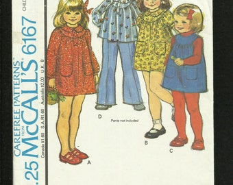 Vintage 1978 McCalls 6167 Little Girls Round Yoke Dress Jumper or Top with Peter Pan Collar  Size 6 UNCUT