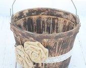 Rustic inspired flower girl basket - wedding basket
