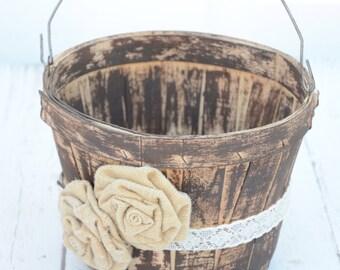 Rustic inspired flower girl basket - wedding basket