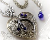 COURAGEOUS HEART in COBALT dragonfly heart locket necklace, steampunk heart locket, gift boxed