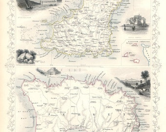 Jersey and Guernsey c1853. The Channel Islands. Antique Map of Jersey & Guernsey UK by Tallis - MAP PRINT