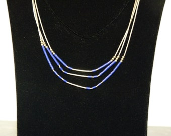 SPRING SALE Vintage Silver and Cobalt Blue Beaded Three Strand Southwestern Style Necklace