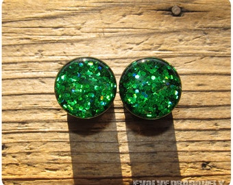 00g, 10mm - READY TO SHIP - Emerald Green Dragonscale Glitter Plugs | 10% Off