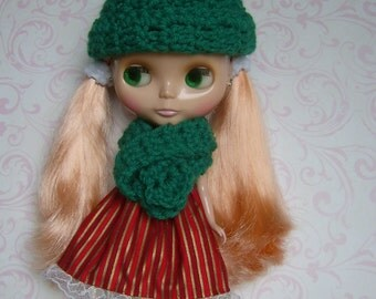 BLYTHE Hat and Scarf Set-Green
