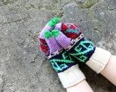 Pastel Handknitted Mittens, Multcolor Knit Gloves, Women's Winter Cozy Gloves, Gloves Teens, Arm Warmer, Knitted Accessories, Wrist Warmer