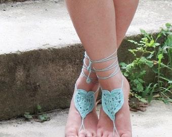Crochet Barefoot Sandals Heart, Aqua Nude shoes, Foot jewelry, Wedding, Sexy, Yoga, Anklet , Bellydance, Steampunk, Beach Pool, Seafoam