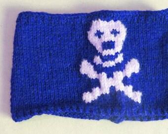 Skeleton Headband Women's, Knitted Skull Headband Blue & White Ear Warmer. Hair cover, Pirate Headband, Knitted Accessories, Gift For Her