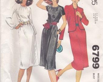 Basic Dress & Jacket Pattern McCalls 6799 Size 12 Uncut