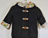 Childrens Hooded Duffel Coat Toggle Jacket, Size 6 months - Childrens 8