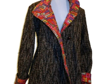Swing Coat in Corduroy, Wool or Tweed, Optional Hood, Fully Lined Long Jacket for Warm Winter Outerwear