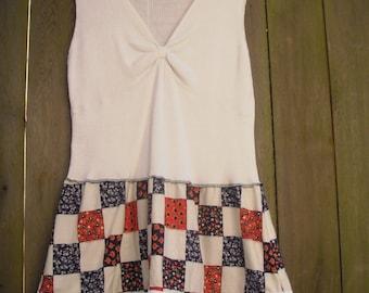 Patchwork Color Block Dress/ Eco Country Prairie Calico Dress/ Summer Dress Vintage CottonPlussize L/XL