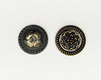 Antique ornate metal buttons, 2 large Victorian buttons