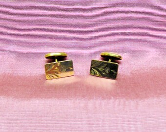 Antique gold plated engraved cuff links, early 1900's cuff links for men or women