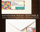 Chevron Envelope Wrap Labels - Rainbow Address Sticker Envelope Wraps  - rbc Bright Stickers Invitation Product Label Ribbon Printable