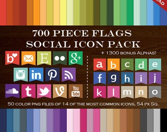 HUGE Social Media Icon Package - 700 Blog Button Icons - Transparent Flag Network Buttons Instagram Email Tumblr Icon Twitter Icon YouTube