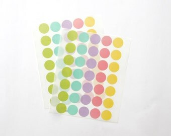 Circle Stickers, Round Stickers, Pastel/Colorful/Multicolor Paper Stickers, Size 20mm, Set of 2 sheets or 70 stickers