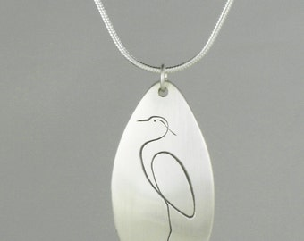 "Calligraphic Great Blue Heron Pendant, Sterling Silver Tear-drop Disc, 1 1/4"" high"