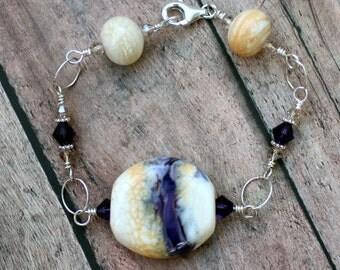 Lampwork Bead Bracelet, Lampwork Jewelry, Beaded Bracelet, Handmade Ivory and Purple Beads, Sterling Silver, Wire Wrapped