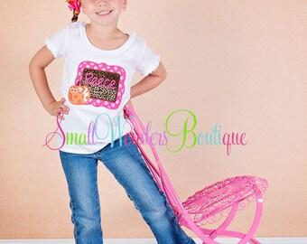 Thanksgiving Embroidered Shirt - Girl Pumpkin Shirt  - Pumpkin Frame - GirlsThanksgiving Shirt - Holiday - Pumpkin Shirt -Leopard Pumpkin