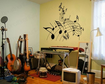 Music Wall Decal Note Stickers Music Wall Art Wall Decor Decals Mural Bedroom  Living Room Sticker Part 98