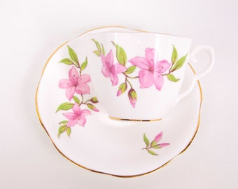 Vintage Taylor and Kent Teacup Saucer England Bone China Pink Lily Flowers