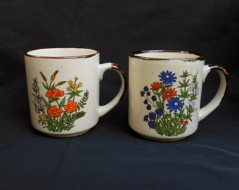 Pair of Mugs with Flowers Speckled Trimmed in Brown Vintage Floral Coffee Cups