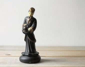 Vintage Asian figurine / home decor / collectible / mid century kitsch / zen / black / collectible figurine / rustic /