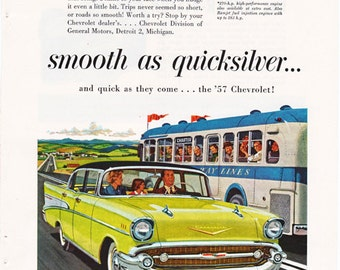 Vintage ad for a 1957 Chevrolet with an illustration by Chas Allen