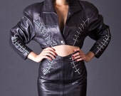SALE 50% OFF 80s Vintage North Beach Leather Cropped Jacket & Pencil Skirt Suit