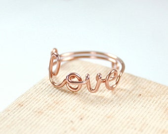 Rose Gold Love Ring, 14k Gold Filled Wire, Delicate Ring, Love Jewelry