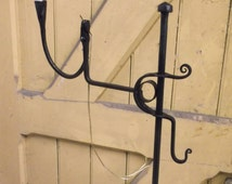 Traditional adjustable candle and rushlight stand, blacksmith forged