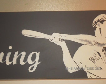 "Baseball ""Swing"" hand painted sign  w/ Ted Williams"