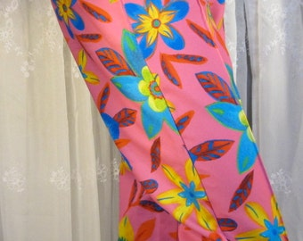 Vintage 90's women's Paris Blues tropical flower pink capri  pants M