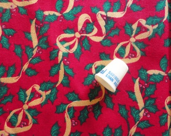 holly leaves and gold ribbons christmas print cotton fabric -- 44 wide by 1/2 yard