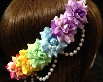 Pre-Order Pink & Purple Rainbow Spectrum Rose Pearl Band Goddess Flower Crown Headband