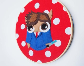 10th Doctor Owl -- Doctor Who Embroidery Hoop Wall Art