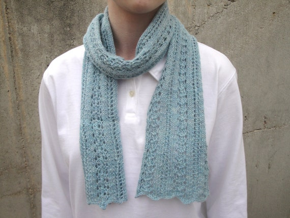 Seafoam Green Scarf, Baby Alpaca, Luxury Natural Fiber, Hand Knit, Short Thin Lace Scarflette, Office