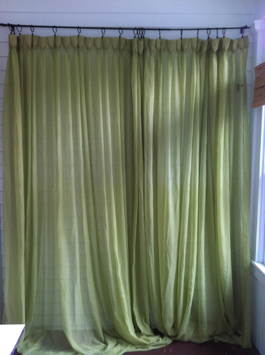 Vintage Green Curtains Pair of Mint Green by YourAuntiesPanties