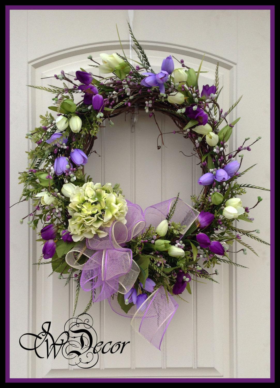 Spring Wreath Wreaths Spring Door Wreath Purple Wreath