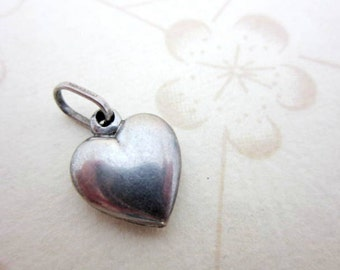 CLEARANCE SALE Italian 925 sterling silver puffy heart charm pendant with unusal bail - vintage love charm made in Italy - minimalistic