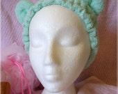 Kawaii bath time teddy bear ear hair drying wrap mint green