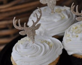 Gold Glitter Cupcake Topper..SET OF 12... Weddings, Birthdays, Gold Party Decorations