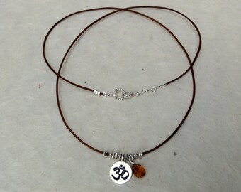 Silver, Leather & Citrine OM Necklace