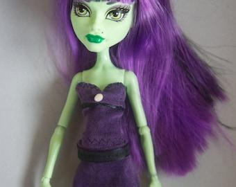Monster High clothes purple velvet skirt and corset top