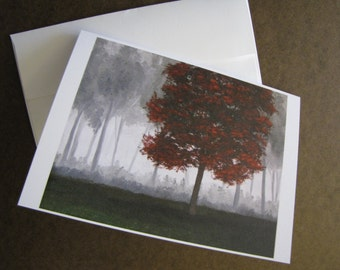 Red Tree in Forest mist Autumn Fall FIne Art Any Occasion blank Greeting Card 5x7 with envelope