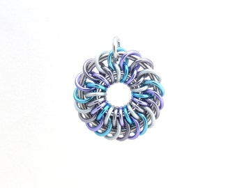 Chain Maille Pendant, Pastel Jewelry, Jump Ring Jewelry, Multicolor Pendant, Aluminum Pendant