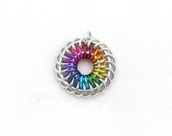 Rainbow Pendant, Chain Maille Jewelry, Jump Ring Jewelry, Multicolor Pendant, Rainbow Jewelry
