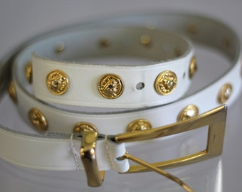 WHITE gold LION belt